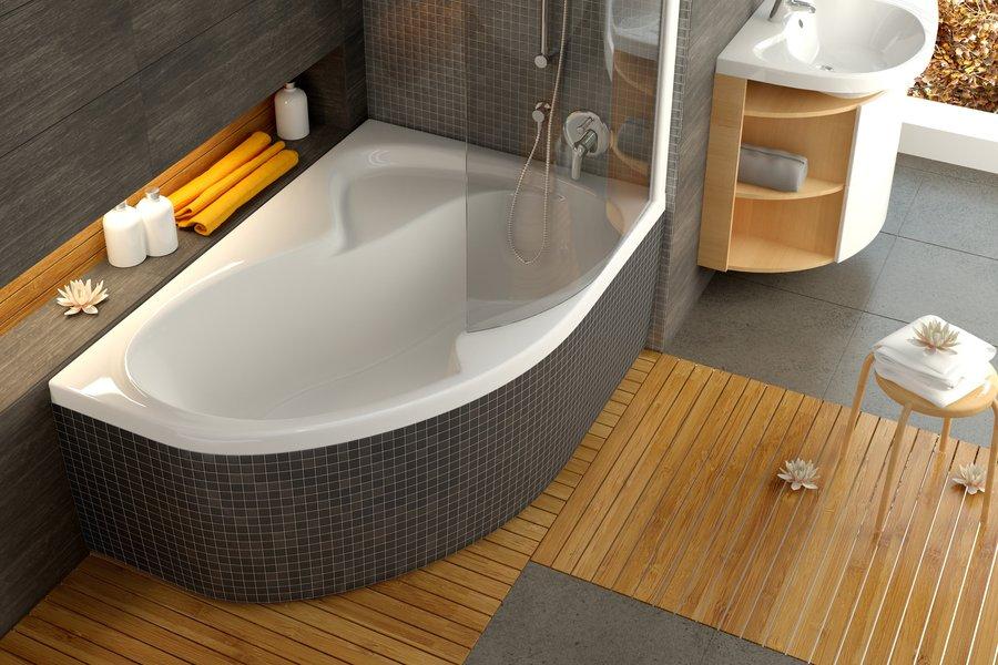 Асимметричная ванна в интерьере фото