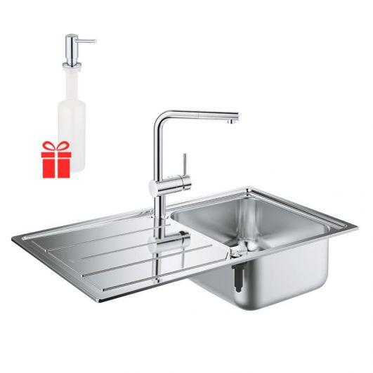 Кухонная мойка со смесителем Grohe Minta K500 31573SD0 + в подарок дозатор Grohe EX Contemporary 40536000