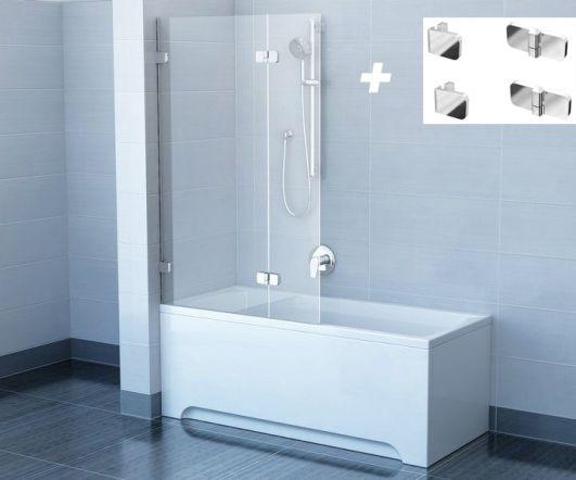 Комплект шторка для ванни Ravak BVS2-100 L 7ULA0A00Z1 Хром+transparent з тримачем Ravak B SET BVS2-L 100 D01000A072